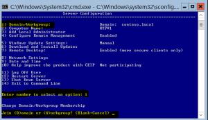 Hyper-V Server Configuration – Join Domain