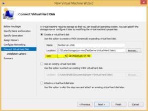 Hyper-V high availability VM - Virtual Hard Disk