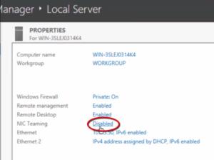 2012R2 Server Manager - Local Server - NIC Teaming