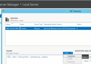 2012R2 Server Manager - Local Server - New Team