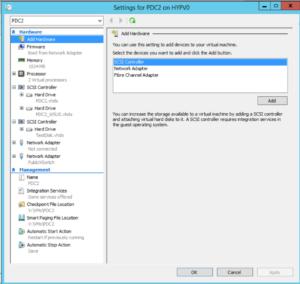 Hyper-V Manager - VM Settings - Add Hardware