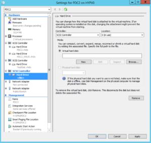 Hyper-V Manager - VM Settings - New Virtual Hard Disk