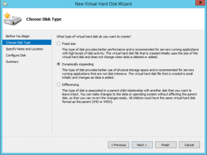Hyper-V Manager - VM Settings - New Virtual Hard Disk Wizard - Disk Type