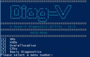 Diag-V GUI selection menu