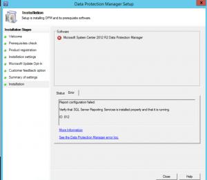 DPM Install Error - Report Configuration Failed ID: 812
