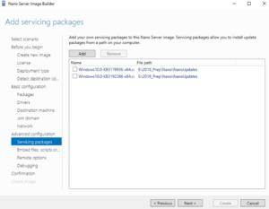 Nano Server Image Builder - Add servicing packages
