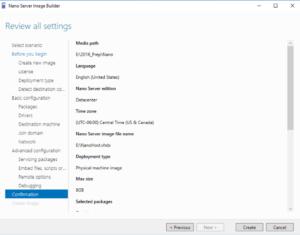 Nano Server Image Builder - Review all settings