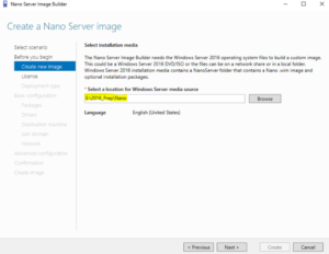 Nano Server Image Builder - Select Installation Media