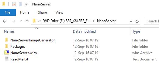 Windows Server 2016 - NanoServer Media files