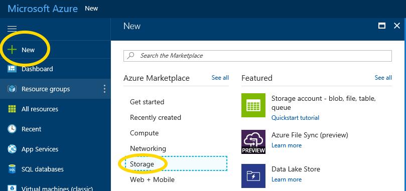 Microsoft Azure new Storage Account