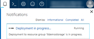 Microsoft Azure Storage Account Deployment in progress