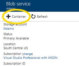 Microsoft Azure Storage Account creating new Blob service container