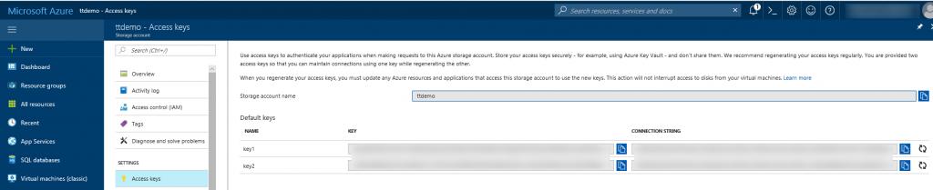 Microsoft Azure Storage Account Access Keys