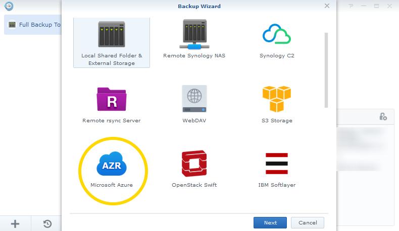 Synology Hyper Backup Wizard Microsoft Azure